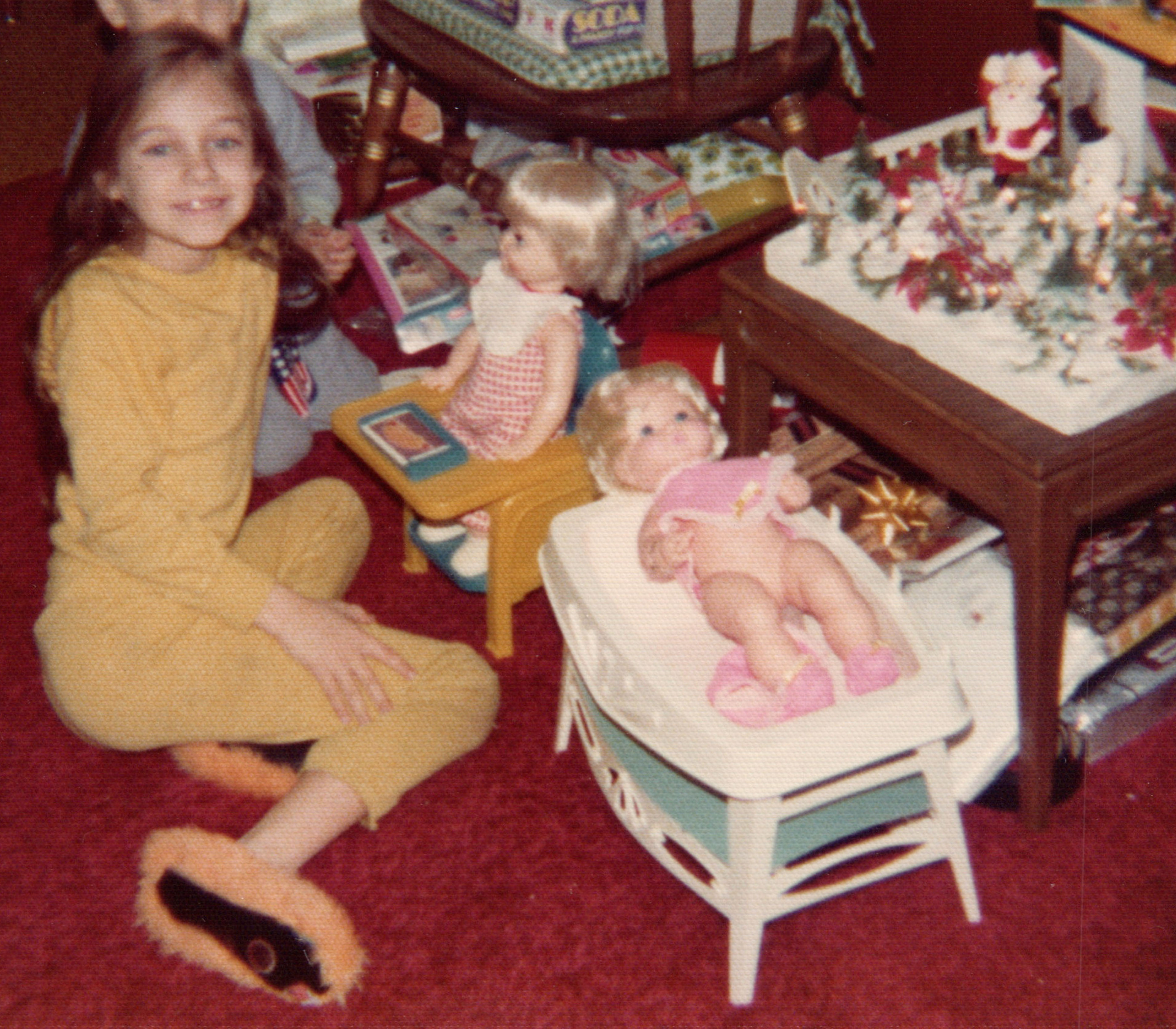 A photo of a young girl in the living room, which was a place to share family stories.