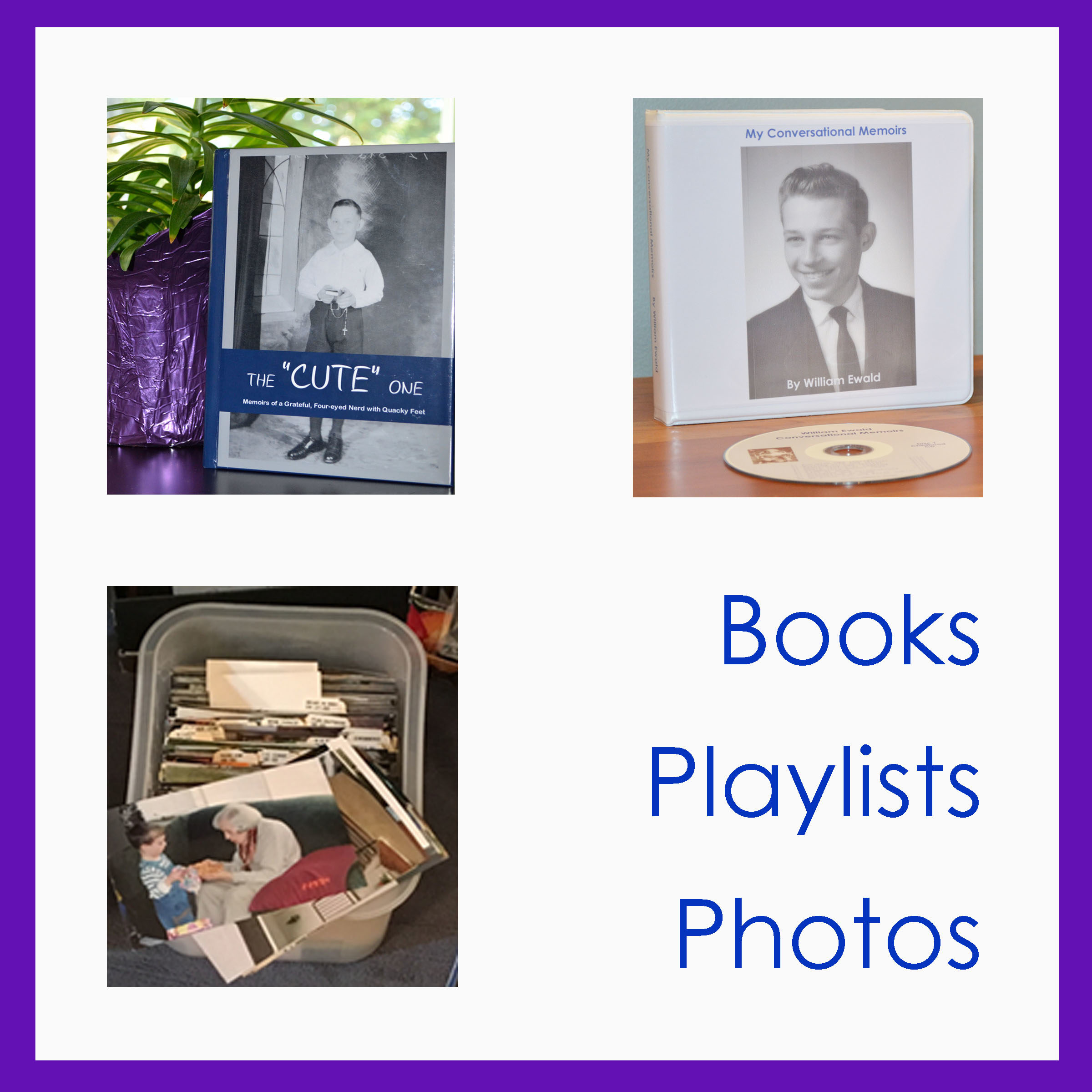 Icon of Books, playlists, and photos.